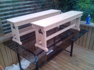 2 Bench trestles for dining table